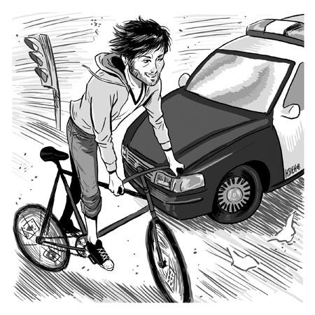 Cop versus cyclist
