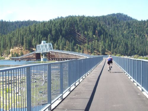 Once a draw bridge for big ships, it's now a lookout for cyclists. Coeur D'Alene Bike Trail