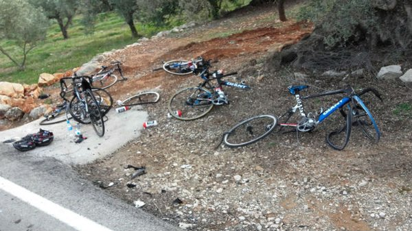 pro cycling team hit by car