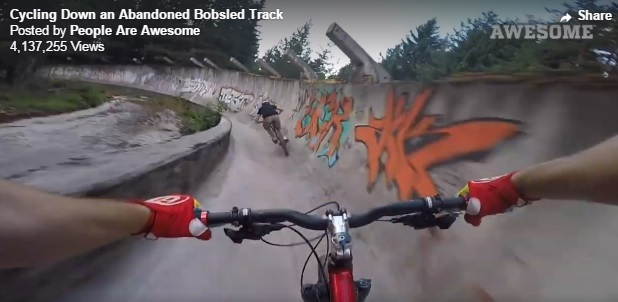riding down a bobsled track