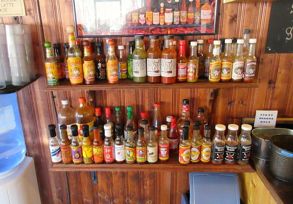 They dont joke around about hot sauce selection in Golden.